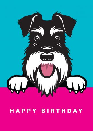 schnauzer birthday card on blue background
