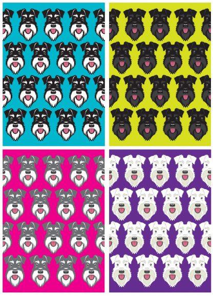Four mini faces cards