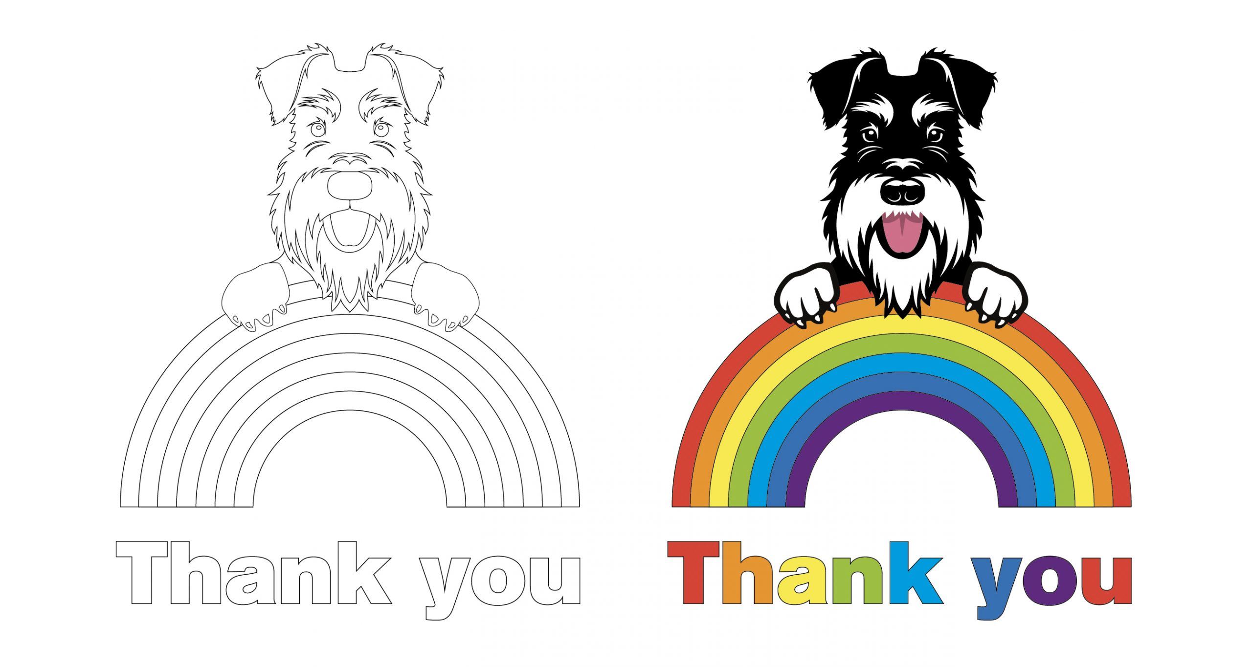 thank you rainbow colouring image