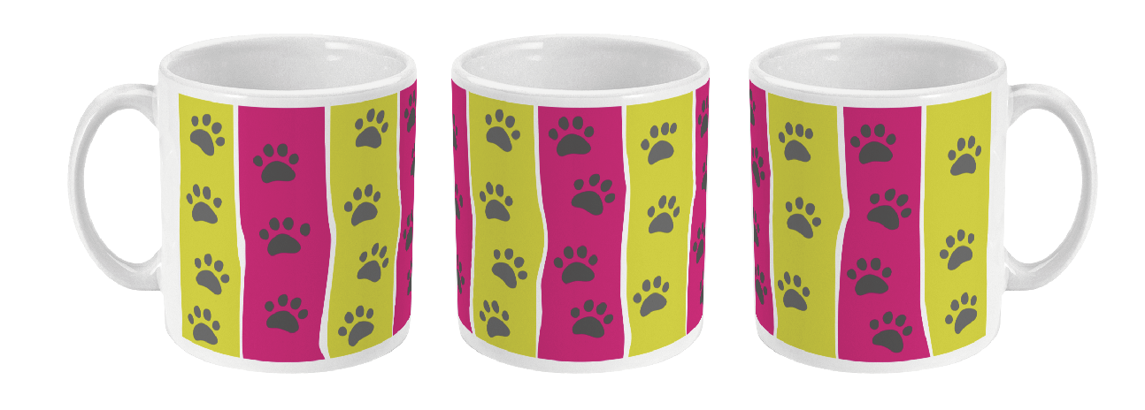 paw print stripe mug in pink and lime