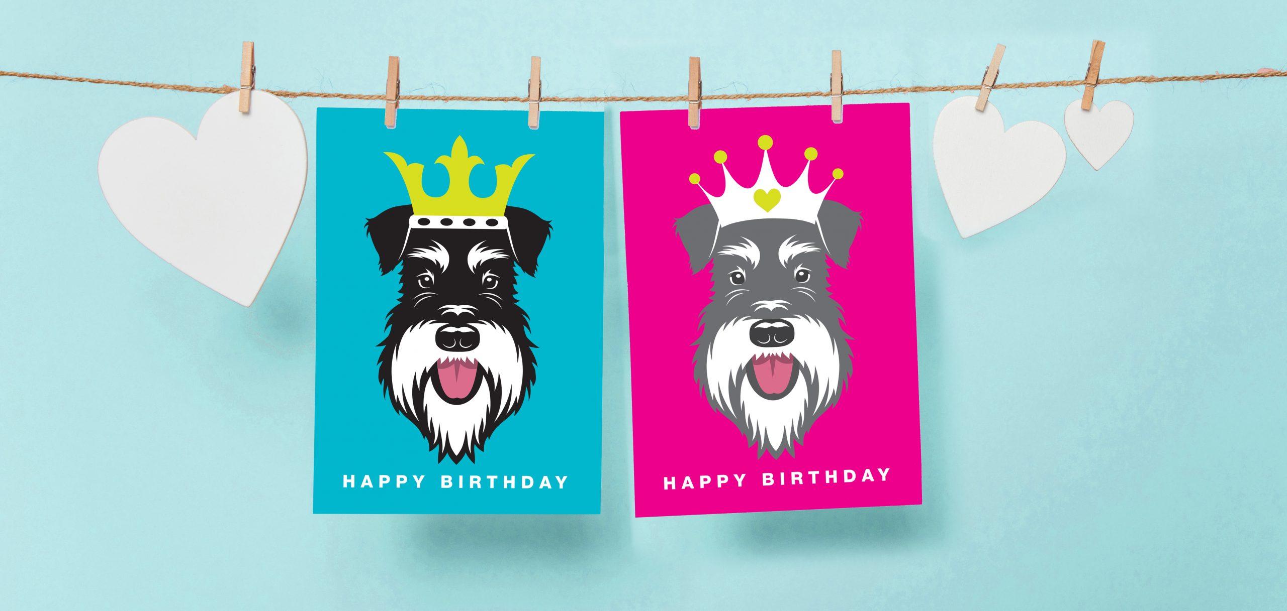 birthday cards on washing line